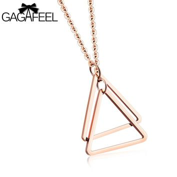 GAGAFEEL Necklace For Women Lady Pendant Rose Gold Color Stainless Steel Double Triangle Clavicle Jewelry Friendship Mom