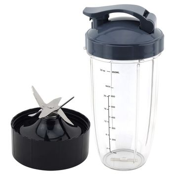 32 oz Colossal Cup with Flip To Go Lid + Extractor Blade for NutriBullet Lean NB-203 1200W Blender