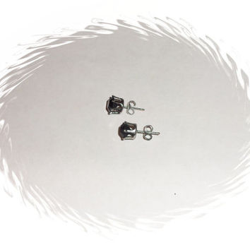 Black Stud Crystal Rhinestone Earrings