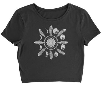 White Dreamcatcher Moon Phases Cropped T-Shirt