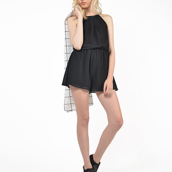 Chiffon High Neck Romper
