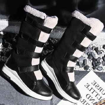 New Black Round Toe Flat Faux Fur Patchwork Velcro Fashion Mid-Calf Boots