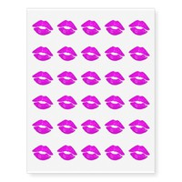 Hot Lips Pink Kiss Lipstick Print Temporary Tattoos