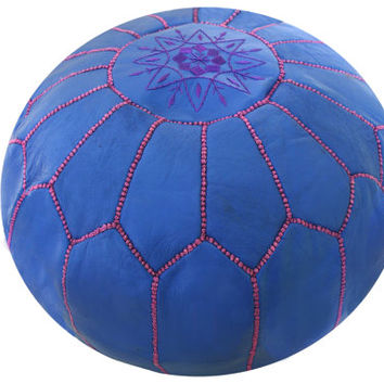 Moroccan Pouf Leather Pouf Ottoman Poof Pouffe pouffes hassock Footstool Beanbag leather pillow Fuchsia