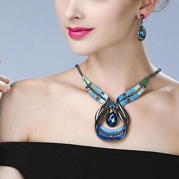 Big Gem Crystal Maxi Boho Cute Punk Collar Choker Necklace Set