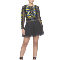 SO MESHED UP PLEATED SKATER SKIRT