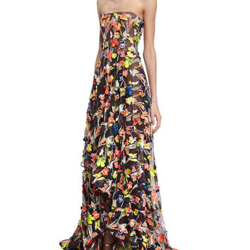 Jason Wu Neon Floral Strapless Gown, Multicolor