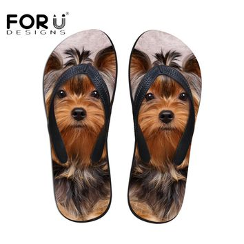 FORUDESIGNS Mens Leisure Beach Flip-flips Fashion 3D Animal Dog Owl Printed Rubber Slippers for Male Outside Water Flip Flops