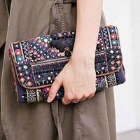 Ecote Quilted Mirror Clutch- Black Multi One