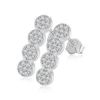 Danity Cubic Zirconia Silver Geometric Curved Bar Micro Pave Post Earring Set