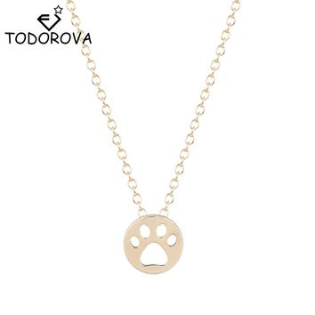Silver Plated or Gold Tone Round Hollow Cat Paw Pendant Necklace