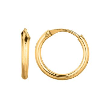 14K Yellow Gold 0.5X9mm Round Endless Small Hoop Earring  with Hinged Clasp