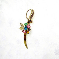 Sword Brooch With Multi Colored Rhinestone Bouquet Center Light Gold Tone Metal Vintage Collectible Gift Item 2371