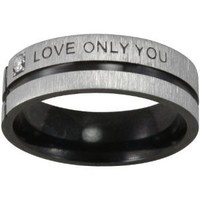 "Black-Tone Stainless Steel ""Love Only You"" Band Ring (Size 11)"