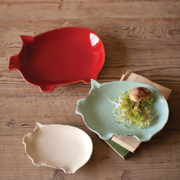 Set of 3 Ceramic Pig Plates- One Each Color