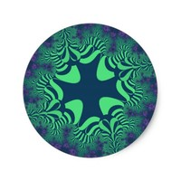 Green Grove Star Small Round Stickers