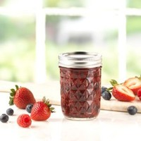 Ball® Quilted Crystal® Regular Mouth Half-Pint 8 oz. Glass Mason Jars with lids and bands, 12 count