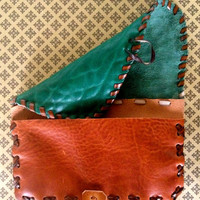 Tobacco Pouch, Handmade Leather, Cognac/Green