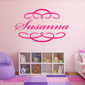 "Swirly Name Monogram Girls Nursery Room Vinyl Wall Decal Graphics 22"" Tall Bedroom Decor 003"