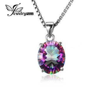 JewelryPalace3.5ct Genuine Rainbow Fire Mystic Topaz Concave Oval Cut Pendant For Women Solid 925 Sterling Silver Set