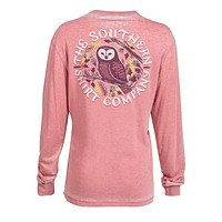Owl Night Long Sleeve Tee in Mauveglow by The Southern Shirt Co. - FINAL SALE