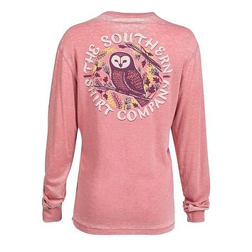 Owl Night Long Sleeve Tee in Mauveglow by The Southern Shirt Co.