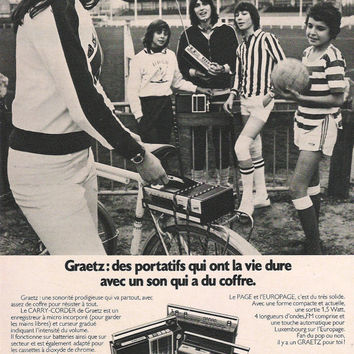 1970's French Graetz Portable Tape Recorders Advertisement  Wall Decor French Advertisement Radio Ad 1970 Teenagers France Football