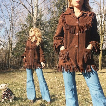 Vintage 1960's 1970's Slim FRINGE Brown Suede Mexican Festival Boho Hippie Gypsy Jacket || Size Small to Medium