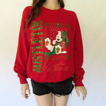 Vintage Christmas Sweater L / Ugly Christmas Sweater  / Ugly Sweater Sweatshirt / 80s Sweater with Puppy