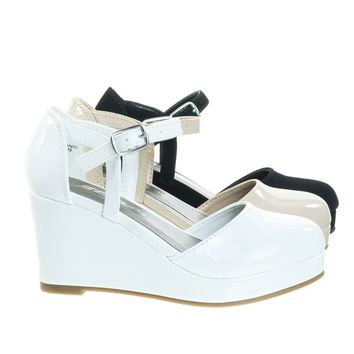 RonniIIs White Patent By Soda, Girl / Children's Platform Wedge Closed Toe Pump w Open Side D'Orsay