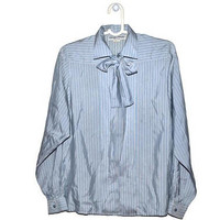 Vintage Striped Bow PussyBow Blouse Baby Blue Secretary Medium M