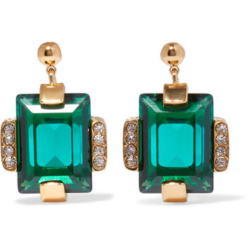 Marni - Gold-tone crystal earrings