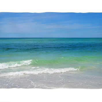 Blue Green Sea - Fleece Blanket, Beach Surf Style Bedding Accent, Coastal Ocean Home Interior Coral Fleece Throw Cover. 30x40 50x60 60x80in
