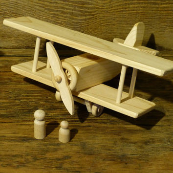 Handmade Wood Toy Bi-Plane plane Airplane Wooden Toys Eco Friendly Natural  Kids Childs Boys Birthday Present Gift Woodworking WW1