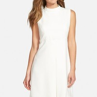 Women's Eliza J Pleat Detail Sleeveless Crepe A-Line Dress