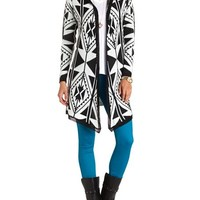 Aztec Print Hooded Cardigan: Charlotte Russe