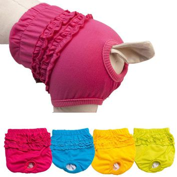 Four Colors Cute Pet Dog Panty Lace Brief Bitch In Season Sanitary Pants For Dog Girl Female Diapers for Dogs Underwear hot sale