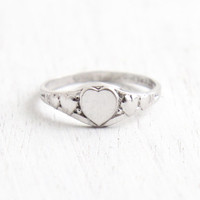 Vintage Heart Sterling Silver Ring - 1940s Size 4 Jewelry Signed Kiddiegem for Uncas Mfg. Co Jewelry