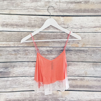 Peach Lace Trim Tank
