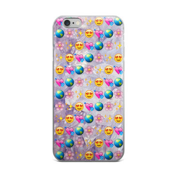 Earth Flower Glowing Stars Heart Eyes Smiley Face Heart With Arrow Emoji Collage Cute Crystals Marble iPhone 4 4s 5 5s 5C 6 6s 6 Plus 6s Plus 7 & 7 Plus Case