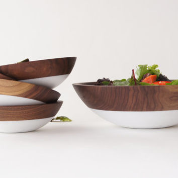 Wooden Salad Bowl Set of 5, White, Summer Party, Picnic,Wedding Gift, WALNUT WOOD