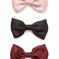 FOREVER 21 Bow Clip Set Burgundy/Black One