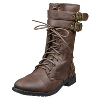 Womens Ankle Boots Buckle Accent Studs Lace Up Combat Boots Brown SZ
