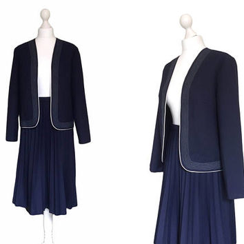 1970's Two Piece Suit - Woman's 70's Suit - Vintage Suit - Navy Blue Edge to Edge Jacket And Pleated Skirt