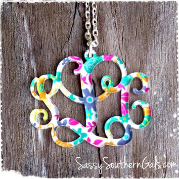 Monogram Acrylic Pendant Necklace, Mary Beth Goodwin Patterns, Lilly Pulitzer Inspired