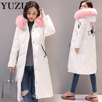 Winter Cotton Jacket Women Long Big Pink Fur Hooded Collar Down Cotton-padded Cute Jacket Coat Thick White Black Plus Size Coat