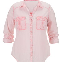 Plus Size - Calypso Coral Lightweight Button Down Boyfriend Shirt - Calypso Coral