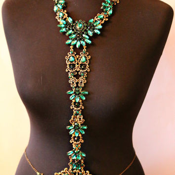 Crystal Body chain, Body Jewelry, Emerald Necklace, Harness