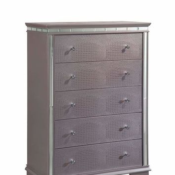 Five Drawer Solid Wood Chest with Mirror Accent Trim, Silver -CM7972C
