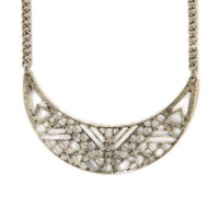 With Love From CA Laser Cut Metal Bib Necklace - Womens Jewelry - Gold - One